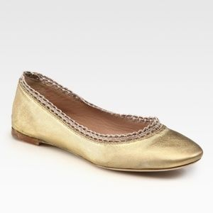 Authentic Chloe Beaded Gold Leather Ballet Flats